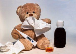 Kranker Bär mit Fiebersaft